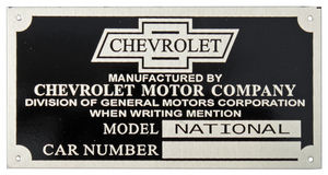 1928 NATIONAL CAR & TRUCK ID PLATE Photo Main