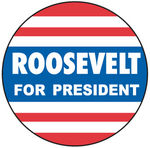 "Chevrolet Parts -  VINTAGE WINDOW DECAL  ""ROOSEVELT FOR PRES."""