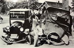 Chevrolet Parts -  1922 CHEV SDN & FORD TOURING WRECK B&W PHOTO