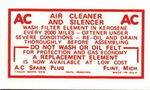 Chevrolet Parts -  1949-54 DRY ELEM. AIR CLEANER DECAL