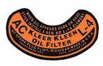 "Chevrolet Parts -  1937-1954 ""AC"" OIL FILTER DECAL L-4"