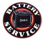 "Chevrolet Parts -  DELCO BATTERY SERVICE DECAL-10"" DIA"