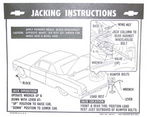 Chevrolet Parts -  1964 CONV'T JACKING INSTRUCTION TAG