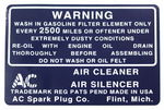 Chevrolet Parts -  1932-36 AIR CLEANER DECAL-DRY ELEM.