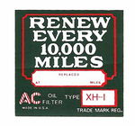 "Chevrolet Parts -  1926-32 PASS ""AC"" OIL FILTER DECAL XH-1"