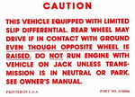 Chevrolet Parts -  1964-72 PASS/TRK POSITRACTION WARNING DECAL