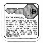 Chevrolet Parts -  1936-54 PASS/TRK GLOVE BOX KEY INST DECAL
