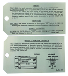 Chevrolet Parts -  1953-54 PASS DELUXE HEATER INSTRUCTION TAG