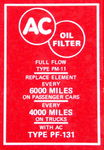 Chevrolet Parts -  1956-57 OIL FILTER DECAL-8 CYLINDER