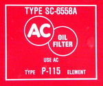 Chevrolet Parts -  1955 OIL FILTER DECAL V-8 WITH A/C