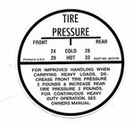 Chevrolet Parts -  1964-66 PASS TIRE PRESSURE DECAL