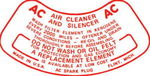 Chevrolet Parts -  1955-57PASS. &TRUCK  6CYL AIR CLEANER DECAL