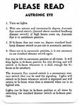 Chevrolet Parts -  1953-59 PASS AUTRONIC EYE INSTRUCTION TAG