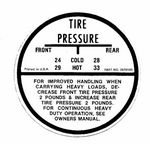 Chevrolet Parts -  1955-62 PASS GLOVE BOX TIRE PRESSURE DECAL