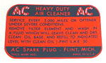 Chevrolet Parts -  1955-57 8CYL/4BBL AIR CLEANER DECAL