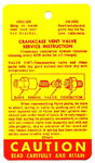 Chevrolet Parts -  1959-65 PASS CRANKCASE VENT INSTRUCTION TAG