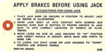 Chevrolet Parts -  1937-40 PASS JACK INSTRUCTION TAG