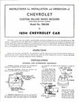 Chevrolet Parts -  1950 PASS DELUXE RADIO OWNERS MANUAL