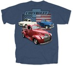 Chevrolet Parts -  VINTAGE CHEV TRUCK AND FLAG T-SHIRT