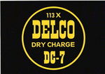 "Chevrolet Parts -  ""DELCO"" BATTERY DECAL - 1960'S ERA - 4.5"" x 6.5"""