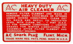 Chevrolet Parts -  1940-46,54-55PU AIR CLEANER DECAL