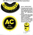 Chevrolet Parts -  1940-53 AC OIL FILTER DECAL SET
