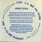 Chevrolet Parts -  1948-62 AC OIL FILTER DECAL